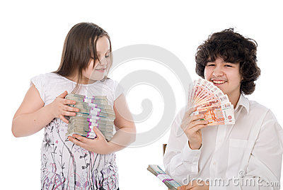 Boy takes away a batch of money from girl