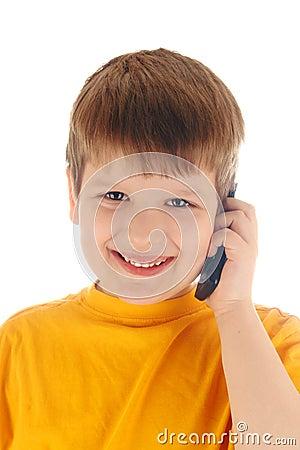 Boy talk at a cell phone