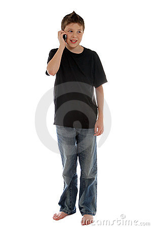Boy talking with friends