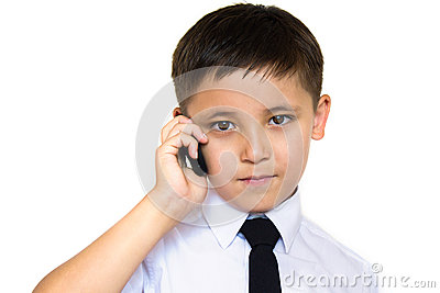 A boy talking on the phone