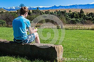 Boy Teenager Sitting Mountains