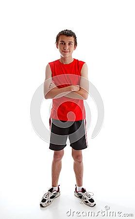 Boy teenager wearing sports gym clothing