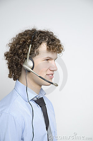 Boy with telephone headset