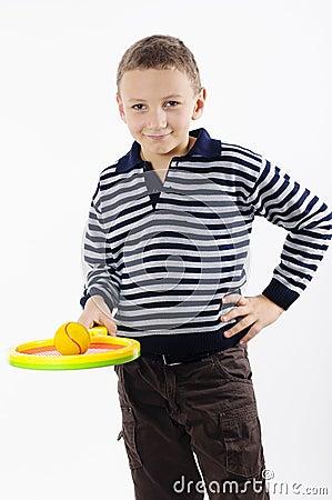 Boy with a tennis racket