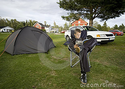 Boy and tent