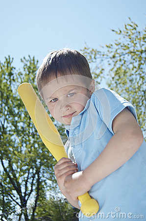 Boy Thinking About Swinging His Bat