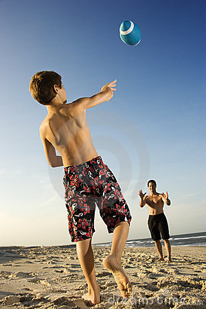 Boy throwing football