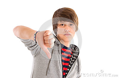 Boy thumbs down