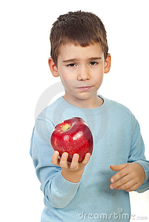 Boy tired of apples