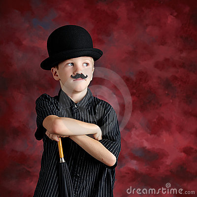 Boy with top hat mustache
