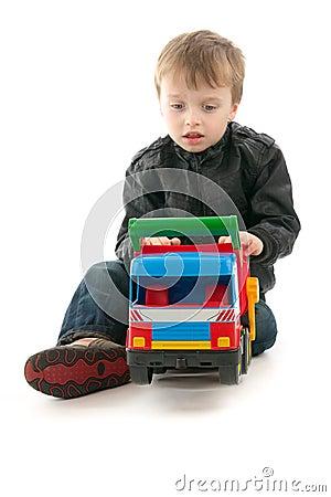 Boy with toy - car
