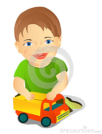A boy with a toy car