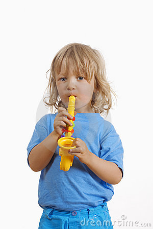 Boy with toy saxophone