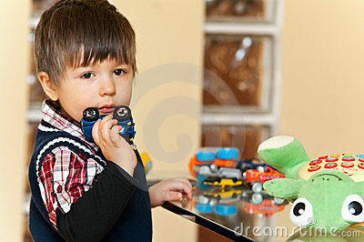 Boy with toys