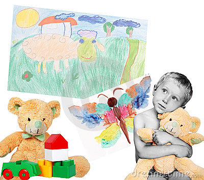 Boy with toys and drawings
