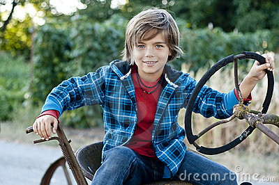 Boy with tractor