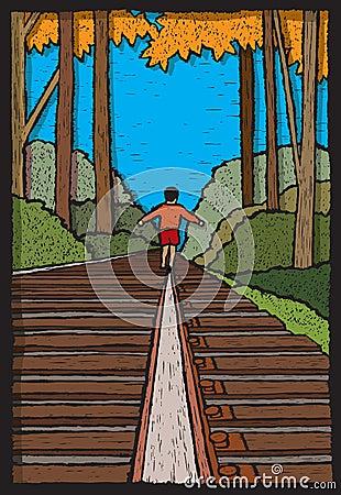 Boy on Train Tracks