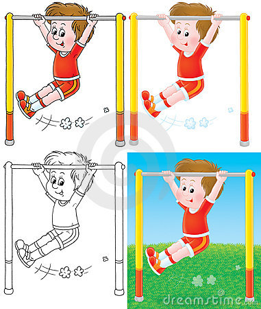 Boy training on a horizontal bar