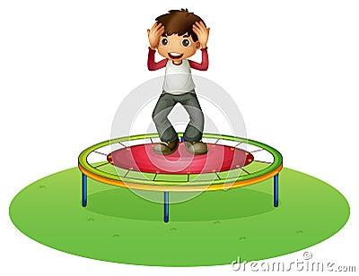 A boy on a trampoline
