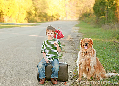 Boy Traveling with Dog