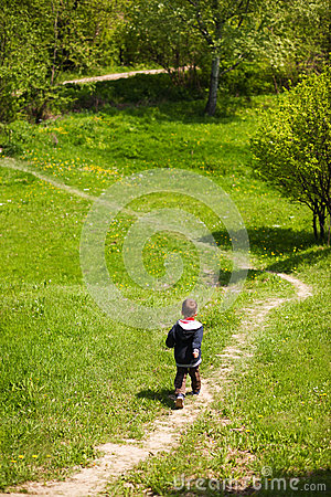 Boy on trekking path