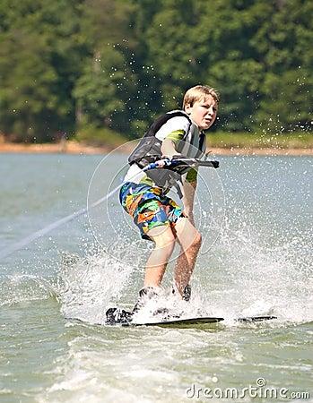 Boy on Trick Skis Turning