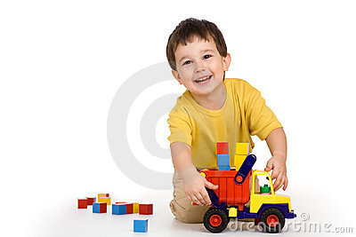 Boy, truck and blocks