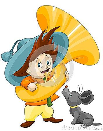 Boy trumpeter dog clipart cartoon style  illustration