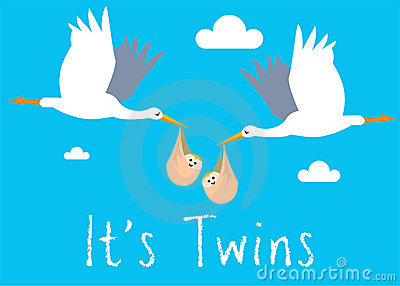 Boy Twins Birth Illustration