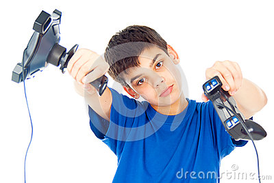 Boy with two joysticks plays