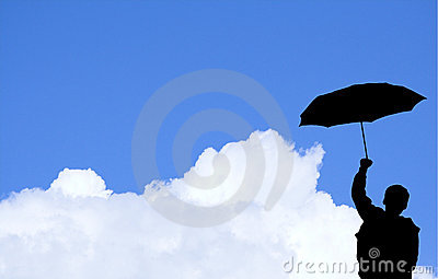 Boy with umbrella  (with clipp