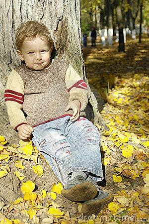 Boy under the autumn tree