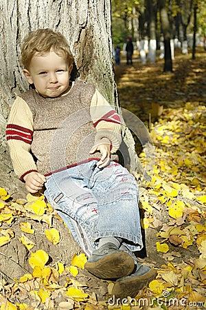 Boy under the autumn tree