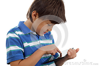 Boy using touch screen tablet