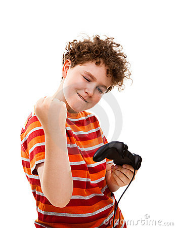 Boy using video game controller