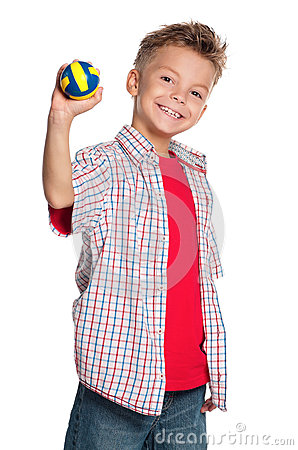 Boy with volleyball ball