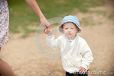 The boy walking