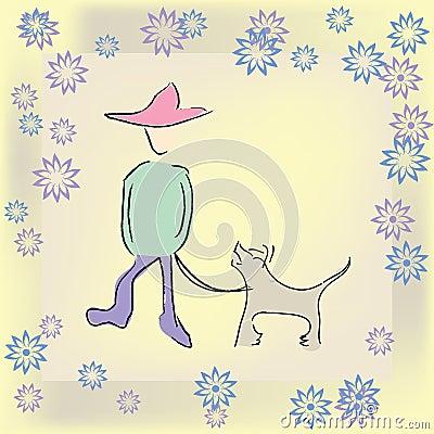 Boy walking the dog