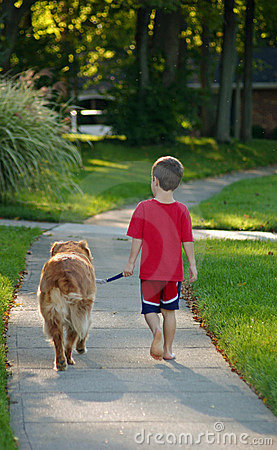Free Boy Walking Dog Stock Photo - 1314590