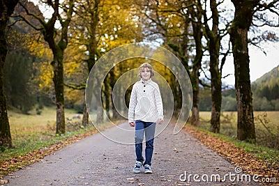 Boy walking down road between yellow trees
