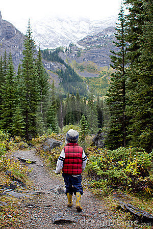 Boy walking in nature