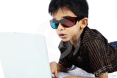 Boy Watching a 3d Movie