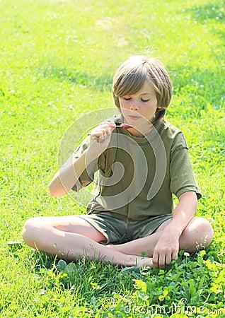 Boy watching ice-cream