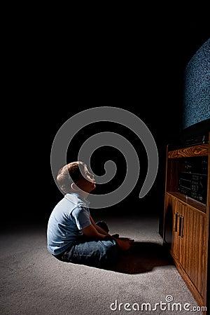 Free Boy Watching Tv Stock Image - 8322691