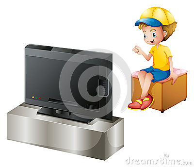 A boy watching TV