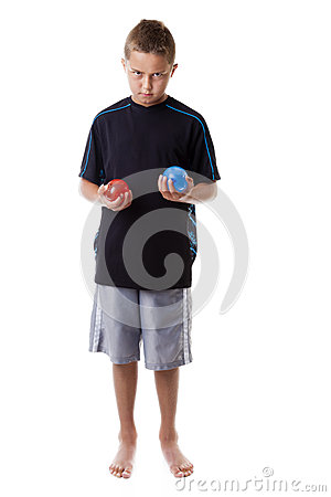 Boy with water balloons