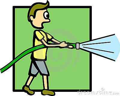 Boy with a water hose vector illustration