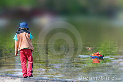 Boy in Water with Model