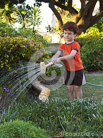 Boy watering the garden