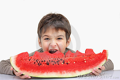 A boy with watermelon